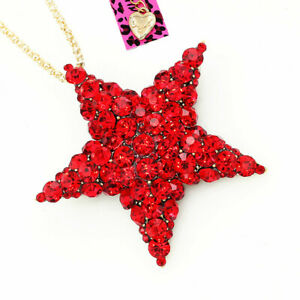Betsey Johnson Red Crystal Pentagram Five Star Pendant Necklace/Brooch Pin Gift