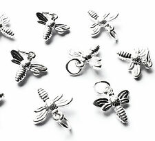 10 3d Silver Plated Honey Bumble Bee Charms Pendants & jump rings, Flying Insect