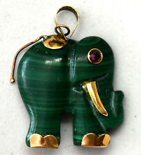 Chinese Small 14K Solid Gold and Malachite Elephant Pendant