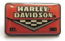 11754 HARLEY DAVIDSON PIN BADGE ORANGE RECTANGLE CHECKERED LOGO MOTORCYCLE BIKE