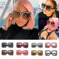 2019 Oversized Square Frame Bling Rhinestone Sunglasses Women Fashion Shades D