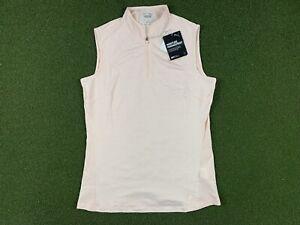 Women's PUMA Mockneck Sleeveless Golf Polo Cloud Pink Heather SZ S ( 595829 23 )