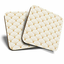 2 x Coasters - Vintage Art Deco Pattern White Gold Home Gift #12760