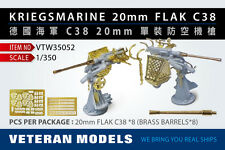 VETERAN 1/350 VTW-35052 GERMAN KRIEGSMARINE 20mm FLAK C38