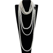 Fashion White Resin Pearl Beads Chain Collar Statement Pendant Bib Long Necklace