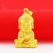 Fine Pure 999 24k Yellow Gold Pendant/ 3D Bless Lucky Cute Buddha Pendant /3g