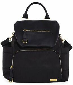 Skip Hop Diaper Backpack Bag Tote Chelsea Downtown Chic Black Multi Pockets EUC