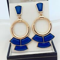 Vintage Art Deco Style Geometric Large BLUE Goldtone Drop Dangle Earrings