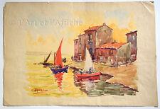 AQUARELLE originale signée L. Millet, MARTIGUES, Art XXe, vintage Watercolor