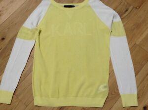 Karl Lagerfeld Ladies Yellow 100% Cotton Fine Knit Casual Jumper Size L