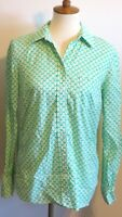 Gap The Fitted Boyfriend Women's Small long sleeve button up shirt green white