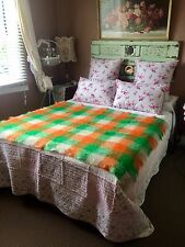 Genuine Vintage Mohair Lap Picnic Rug Made By Onkaparinga Green Orange Tones