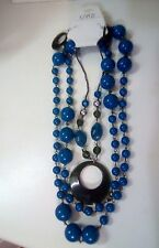Beautiful, chunky, gaudy, necklace and pierced earring set. Blue and green bead