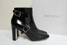 New sz 6 / 36 Jimmy Choo Dee Black Leather Buckle Short Ankle Boot Heel Shoes
