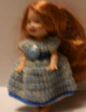 "Ooak Handmade Crochet Kelly Clothes for 4.5"" Kelly Doll Blue Variegated Dress"