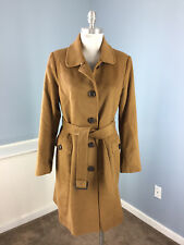 LAUNDRY Shelli Segal L 12 brown Wool Cashmere Belt Long Coat Trench Excellent