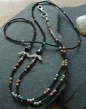 """Chakra ANGEL"" Black Handmade ID Lanyard Badge Holder necklace"