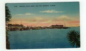 FL Sarasota Florida 1956 linen Post Card - Yacht Basin and Pier