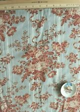 """Antique French c1880 Printed Floral & Ribbons Cotton Home Dec Fabric~77"""" X 33"""""""
