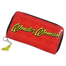 Official Wonder Woman Classic Logo Clutch Purse Wallet - Red Gold Zip Around New