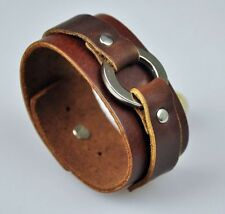 Cool Punk Ring Vintage Leather Bracelet Wristband Cuff BROWN