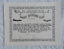 WW 2 US AAF B-17 Bomber 25 Mission Lucky Bastard Club Diploma, Replica