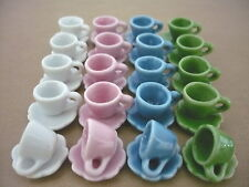 40 Piece Colorful Coffee cup/Scalloped Dollhouse Miniatures Ceramic Supply Food