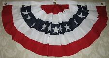 New Small 3 ft x 1.5 ft Bunting Pleated Fan Flag/ Great on decks