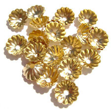 5978FN Bead Cap Cup, Gold ptd brass, 7mm Ribbed, fits 7 to 9mm beads, 100 Qty