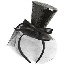 Black Glitter Mini Top Hat Headband - Can Cylinder Burlesque Dancer Miniature