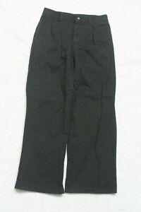 """Black Pleated Boys Dress Pants Cotton Twelve 12 26"""" Waist 25"""" Inseam George P149"""