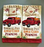 Red Farm Truck Dish Towels Set of 2 Thanksgiving Pumpkin Fall Harvest Cotton