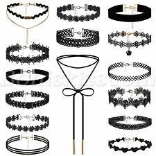 15pcs Goth Punk Multilayer Black Lace Velet Tattoo Necklace Womens Choker Collar