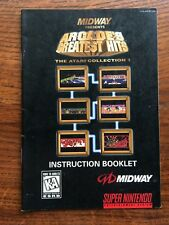 Arcades Greatest Hits Atari Midway SNES Super Nintendo Instruction Manual Only