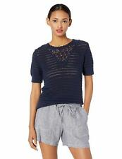 MSRP $80 Lucky Brand Women's Short Sleeve Crochet Sweater, American Navy, Large