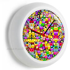 EMOJI SYMBOLS SMILEY CHARACTERS WALL CLOCK KIDS TEEN BOY GIRL BEDROOM ROOM DECOR