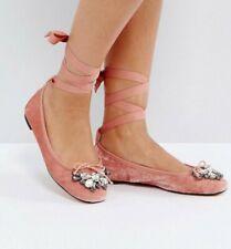 Office London Brand New Ladies pink velvet ballet flat shoes size 4