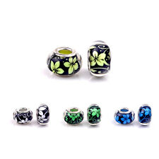 5pcs Orchid design Acrylic Charms Beads Fit European Bracelet & Bangle