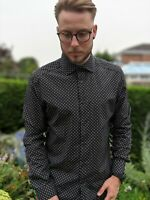 Reiss L Black White & Gold Shirt Men's Spotty Geometric Kesler Slim Fit Smart