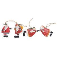 Evelyne Holiday Season Christmas Embossed Ornaments Santa Claus 4pcs Set