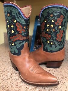 ROCKETBUSTER Mens Cowboy Western Leather Hand-tooled Boots Sz 10