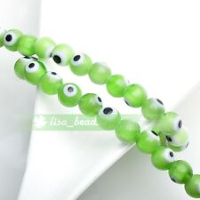 6mm 50pcs Round Lampwork Glass Crystal Dots Charms Loose Spacer Beads Green