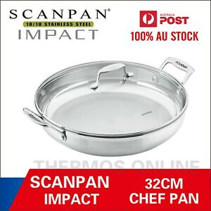 IMPACT COVERED CHEF PAN 32CM SCANPAN 18/10 STAINLESS STEEL RRP $189