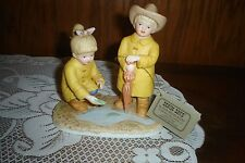 """Pr. Home Interiors Denim Days """"The Puddle Jumpers"""" Porcelain Figurines-1999- New"""