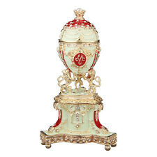 Decorative Faberge Egg / Trinket Jewel Box with Lions 4.8'' (12.3cm) red