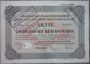 Aktie, Sächsische Maschinenfabrik 1929, (Art.3209)
