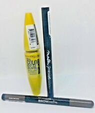 Maybelline Set Colossal Mascara Black + Master Precise Eyeliner +Duo Brow Pencil