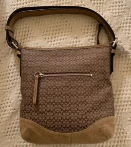 COACH-KHAKI/CAMEL SIGNATURE SHOULDER BAG Adjustable Strap Suede Material New NWT