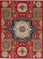 5' x 7' Geometric Super Kazak Pakistan Oriental Area Rug Hand-Knotted Carpet RED