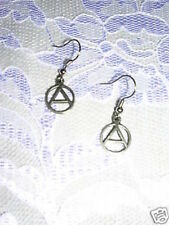 WILD CAST PEWTER ANARCHY SYMBOL LETTER A SIGN WITH CIRCLE CHARM EARRINGS JEWELRY